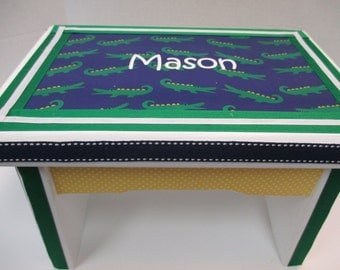 Sturdy  Bench- Navy and Green Alligator Theme