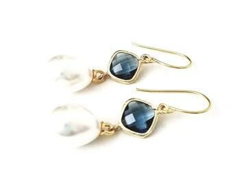 Sapphire and Pearl drop earrings Navy and pearl Bridal pearl teardrop earrings Pearl earrings Pearl dangle earrings Bridesmaid earrings