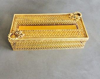 Vintage Stylebuilt Tissue Box, Gold Gilt Filigree, Hollywood Regency