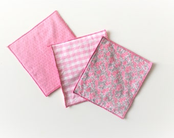 pink fabric floral mug rug - pink trivets - set of 3x pink mug rugs - hostess gift - shabby home decor - pink mug rug - teaparty gift