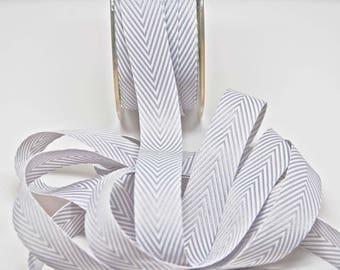 Striped Chevron Twill Ribbon -- 3/4 inch -- Gray White