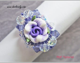 Beaded Ring Pattern - Purple Clay Flower Ring (RG110) - Beading Jewelry PDF Tutorial (Instant Download)
