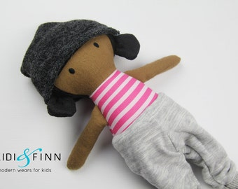 NEW Mini Pals soft rag doll keepsake gift OOAK ready to ship hipster beanie pink grey modern