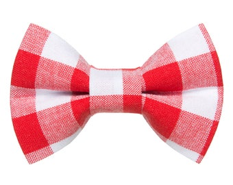 "Cat Bow Tie - ""The Brunch at Pickles'"" - Red + White Plaid"