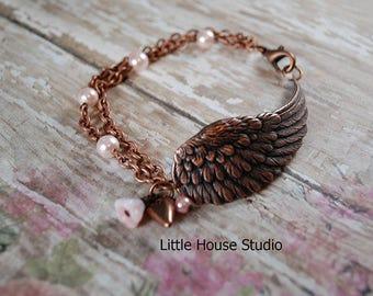 Antiqued Copper Wing Bracelet, Angel Wing Bracelet, Bird Wing Bracelet, Wing Bracelet