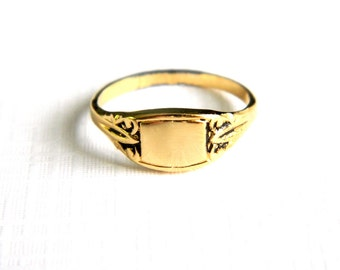 Vintage Victorian Insignia Gold Initial Ring - Blank Signet - Engraveable - Monogram - NOS - Size 4 5 6