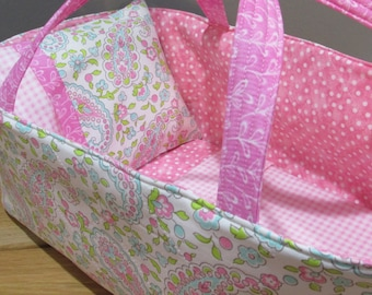Doll Carrier, Will Fit Bitty Baby and Stella Dolls, Soft Pink Paisley, 16 Inches Long