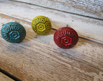 2 Bohemian Knobs Vintage Cottage Style Custom Color Pictured in Various Colors White See Description for others Custom You Choose B-12