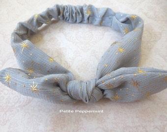 Grey and Gold Baby headband, baby head wrap, toddler headband, bow knot headband, baby headband bow, top knot headband, baby hair bow
