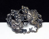 Victorian Grapes Brooch - Early 1900's pin - Silver Tone Fruit Jewelry - Art Nouveau Vintage Costume Jewelry - Grapes, Leaves, Vines