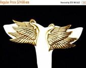 Laurel Burch Swan Earrings - Birds in Flight - Gold Tone Pierced Earrings - Wires for Pierced Ears - Designer Signed Laurel Burch - Vintage