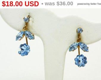 Blue Austrian Crystal Earrings - Clip on Dangling Flowers - Made in Austria Signed Jewellery
