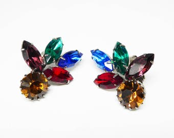 Rainbow of Rhinestones Earrings - Vintage Clip on with Multi Colored Rhinestones Green , Blue, Red, Gold & Purple - Mid Century 1950s 1960s