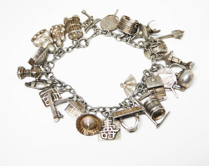 Amazing Chinese Silver Charm Bracelet - 26 Unique Silver Charms Buddha Pagoda Boat Rice Buckets Umbrella Tea Kettle - Vintage 1940s 1950