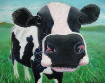 "COW PRINT & MAT: Image 5"" X 7"" Mat 8"" X 10"" Farm Art Whimsical  Cow Art Holstein Print Cow Lover Cow Portrait Barnyard Art Karen Snider"