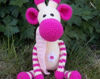 plush giraffe, Amigurumi giraffe, crocheted giraffe, pink giraffe, striped giraffe, giraffe doll, crocheted toy, giraffe doll