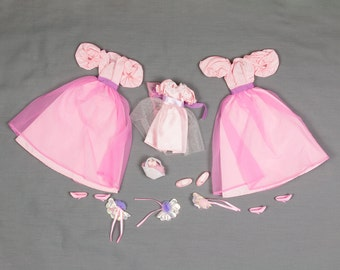 Barbie fashion clothes, Two Bridesmaid dresses and 1 Flower girl dress Stacie, Basket of flowers, Bouquets, Shoes, Bridal shower invitations