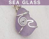 Sun-Colored Amethyst Sea Glass Pendant