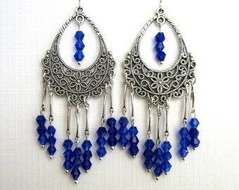 Cobalt Blue Crystal Chandelier Earrings Antique Silver Filigree Chandelier Earrings