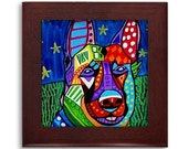 German Shepherd dog Mexican Folk Art Ceramic Framed Tile by Heather Galler - Ready To Hang Tile Frame Gift