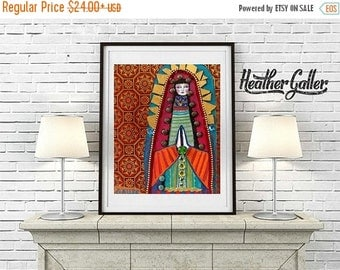 50% Off Today- Mexican Folk Art Virgin Of Guadalupe Angel Art  Art Print Poster by Heather Galler of Painting (HG669)
