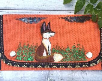 Fox Purse- Fox Wallet-  Orange Purse- Painted Purse- Ladies Wallet- Mom Gift- Burlap Purse- Fabric Wallet- Card Wallet- Wallets for Women