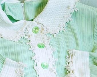 Vintage Shirtwaist Dress, Green Dress, Long Sleeve, Vintage Dress, Seafoam Green, Peter Pan Collar, Victorian House Dress, Mod,  Girls