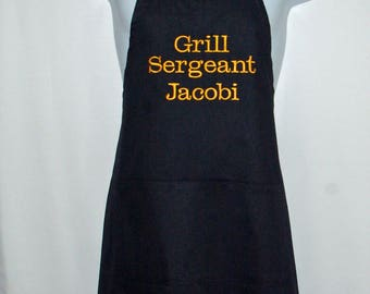 Grill Sergeant Apron, Army,  Navy,   Marine, Air Force Drill Instructor, Personalize With Name, No Shipping Charges, Ready To Ship, AGFT 316