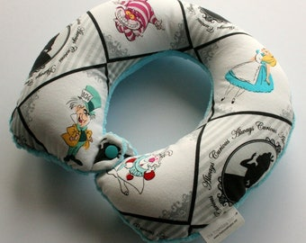 Child Travel Neck Pillow - Always Curious  (w/ Turquoise Minky)