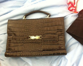 Faux Alligator Satchel Purse