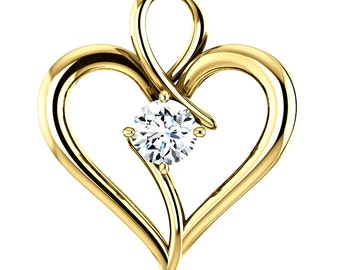 1/4 ct Genuine Diamond Heart Pendant, Solid 14K Gold, Always in my Heart, 14K White, Yellow or Rose Gold, Contemporary Style, Anniversary