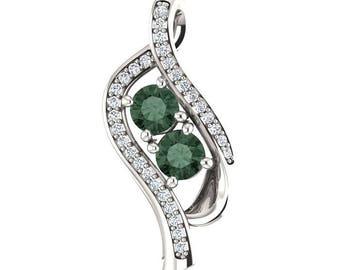 2/3 cttw Genuine Diamond and Created Alexandrite Ribbon Slide Pendant, Solid 14K Gold, Platinum, or Silver, Two June Birthstone Pendant