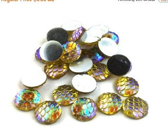 75% OFF- 12pcs Yellow Resin Mermaid Scales Nautical Cabochons 12 mm - Glitter Fish Scales - Flat Back Ocean Marine Jewelry - Yellow Fish Sca