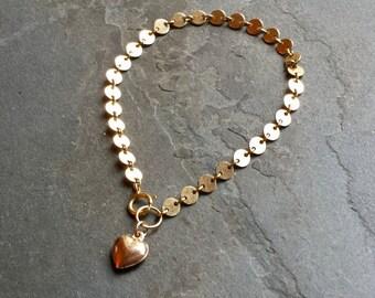 Simple Gold Chain Bracelet, Gold Filled Chain, Gold Disc Chain, 14K Gold Filled Heart, Heart Jewelry, Gift for Her, Heart Charm Bracelet