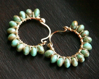 Green beaded wire wrapped hoops, beaded hoops, green and brown Czech glass beads, hoop earrings, 14k gold filled, Mimi Michele Jewelry
