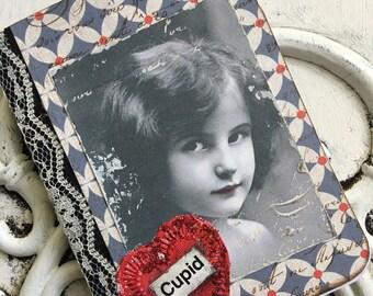 Mini Composition Notebook Altered Embellished Vintage Image Love Heart Cupid Valentines Art Stamped