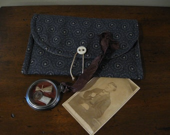 Civil War Letter Pouch, Pocket Watch / Lock of Hair, Button, Fabric~ Sweetheart Photo