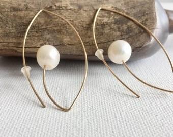 Gold Hoop Earrings, Pearl Earrings, Gold Filled Earrings,Open Hoop Earrings