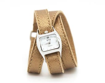 Metallic leather watch, champagne triple wrap watch, leather cuff  - TWIST