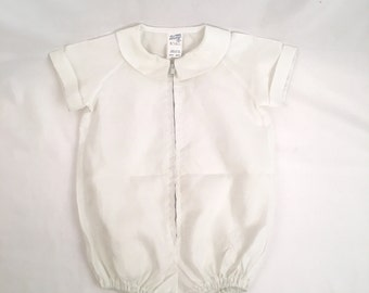White Baby Romper 50s Vintage One-Piece Infant Outfit Shortall Hollywood Needlecraft Boy Girl Medium Size 9 month