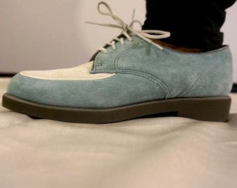 Comfy Suede Two Tone Teal and White Hush Puppies Oxfords