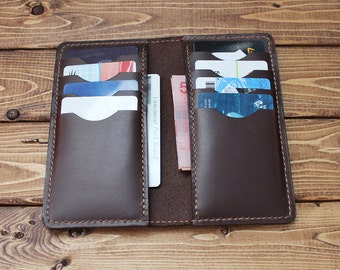 Hand Stitched Leather Wallet - Card Holder in Oil Pull Up CHESTNUT