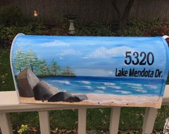Hand painted mailbox, beach mailbox, lake mailbox, ocean mailbox, custom ordered mailbox, blue mailbox, lake scene, Mendota Lake mailbox