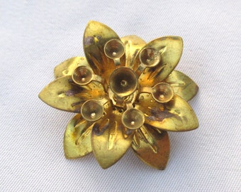 6pcs 25mm Antiqued Brass Flower Lily Filigree Finding f115