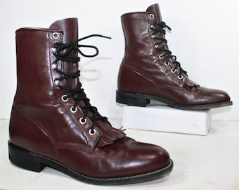 Vintage grunge granny combat barn Justin boot riding maroon cowboy pixie lace up womens 7 M B AUS 5.5 UK 4.5 EUR 37.5