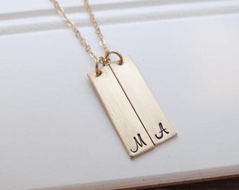 Personalized Vertical Tag Necklace. Names, Initials, Date. Hand Stamped- Personalized- Great Gifts For Moms- Great Gifts for Wife