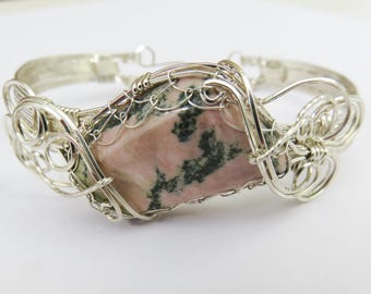 Sterling Silver Bracelet - Wire Wrapped Stone Bracelet - Sterling Bangle Bracelet - Silver Wrapped Stone Bracelet - Wedding Bracelet