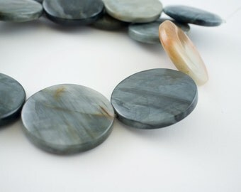 30mm Grey Cat's Eye Quartz Puff Coin Gemstone Beads - 15 inch strand - 13 pieces
