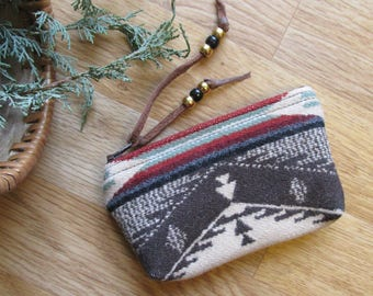 Medicine Bag, Totem Pouch, Coin Zippered Change Purse Spirit of the People 5.5 x 3.5