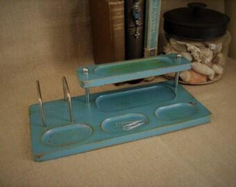 Beach Cottage Chic Turquoise Dresser Valet / Desk Organizer / Desk Caddy / Upcycled Dresser Valet in Turquoise Teal Blue / Shabby Desk Caddy